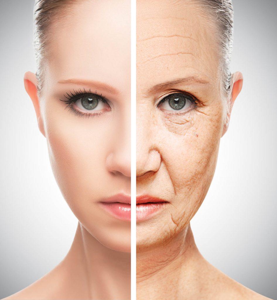 Mujer antes y después de un tratamiento facial de rejuvenecimiento